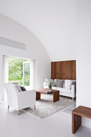 Pure White and Wood Living Room