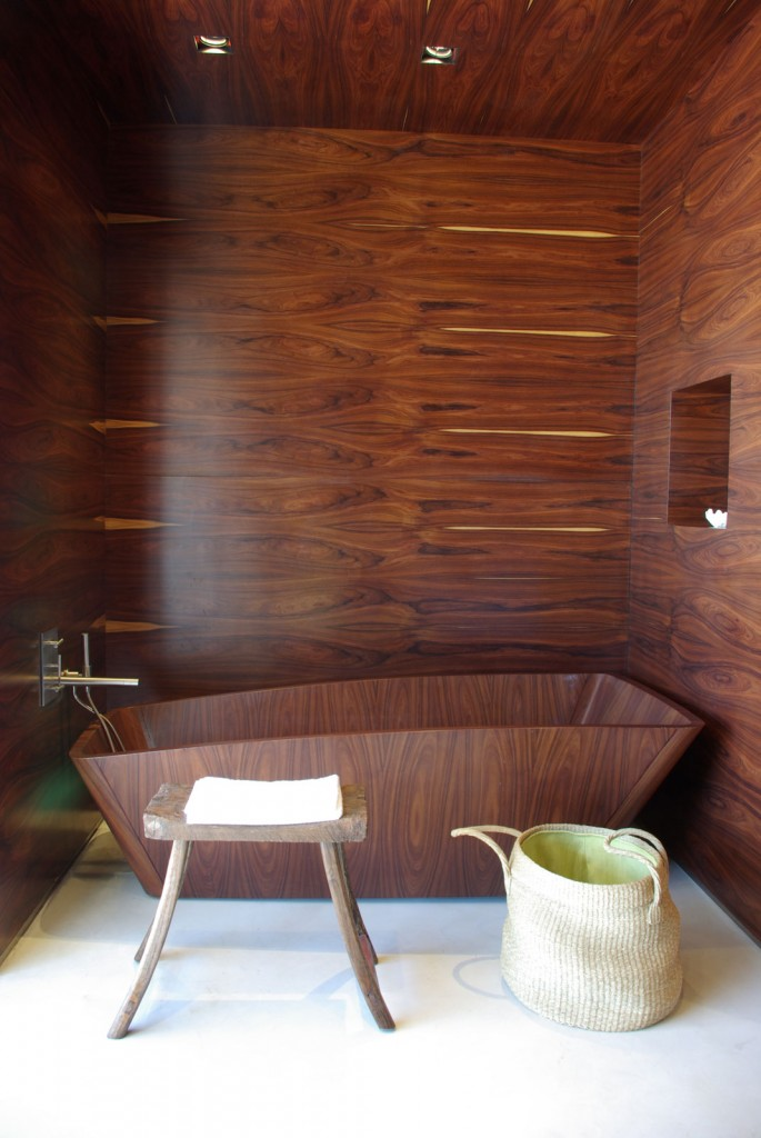 Estancia Vik Jose Ignacio Master Suite Wood Bathtub at IDEASGN