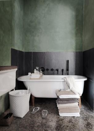 Olive Green and Black Bathroom