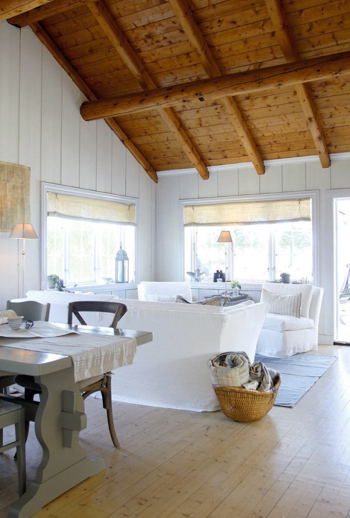 Log cabin Refurbished   Bright Living Room