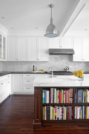 Marble Countertop Kitchen Island with Wooden storage box