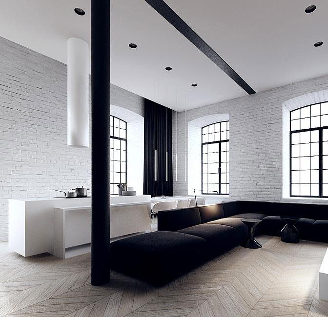 Black And White Loft Minimalist Kitchen Dream House
