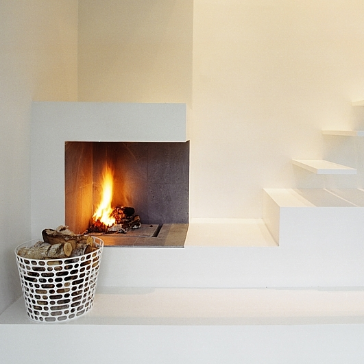 Minimalist Fireplace Beside The Floating Stairs Dream House