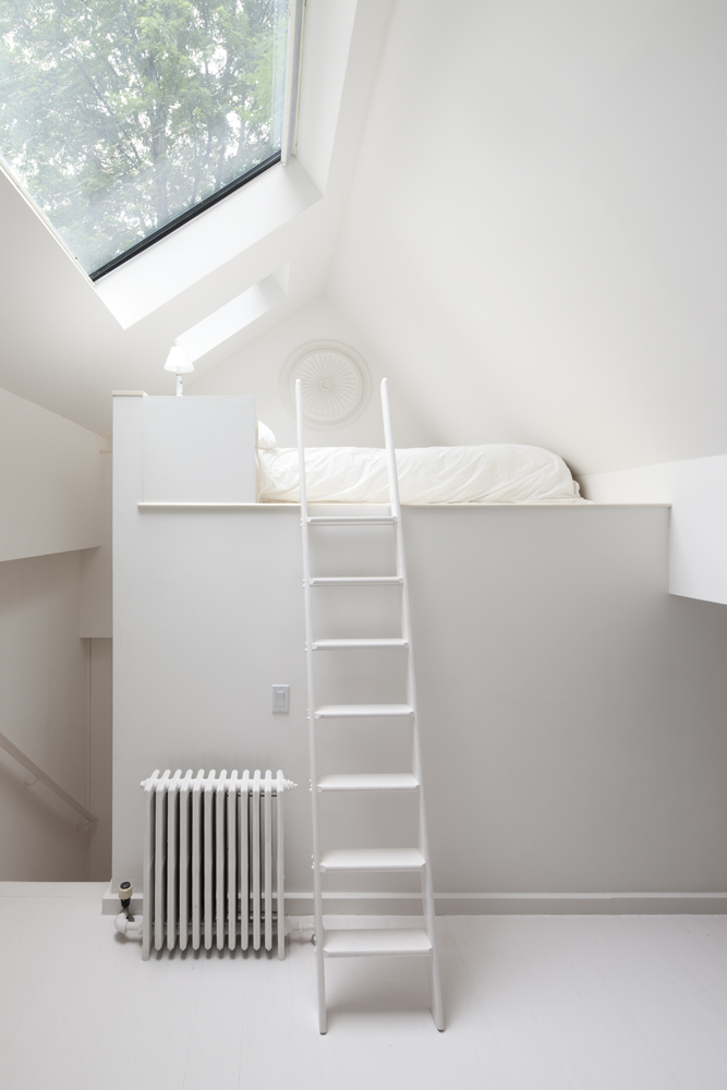 Chelsea apartment loft stair and bed