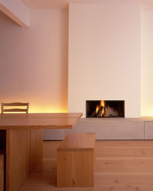 Minimalist Fireplace with Douglas fir floorboards