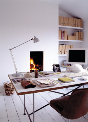 Comfortable Workspace with Fireplace