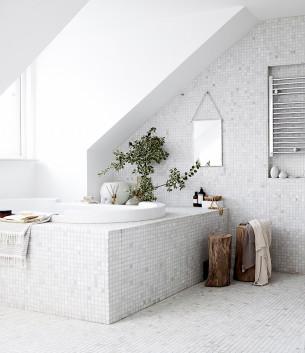 White Mosaics Bathroom