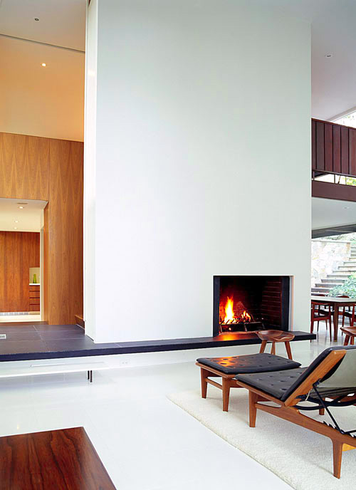 Bassam Fellows residence living area fireplace