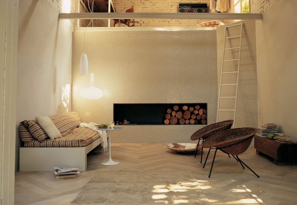 Beige Tiles Living Room And Loft