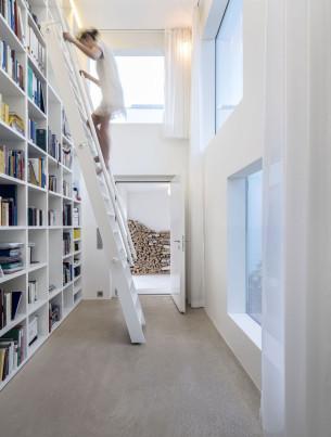 Bookshelf Wall with Handrail ladder