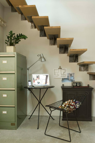 Mini Workspace under Floating Staircase