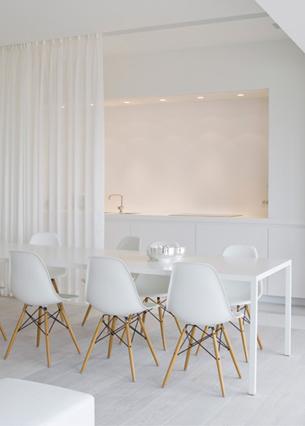 White Kitchen with White Curtain