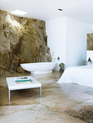 Rocky Bedroom with Freestanding Bathtub