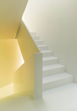 Minimalist Staircase Dressed Yellow Light