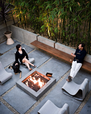 Outdoor Fireplace with Bamboo forest