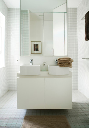 Minimalist Floating Washbasin in Mosaic Bath