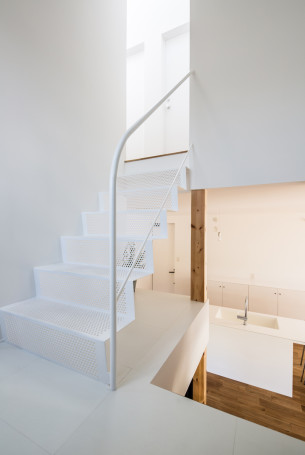 White sieve-like staircase