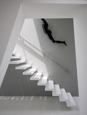 Floating Steel Stair with Perforated Step