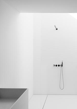 Minimalist White and Black Bathroom