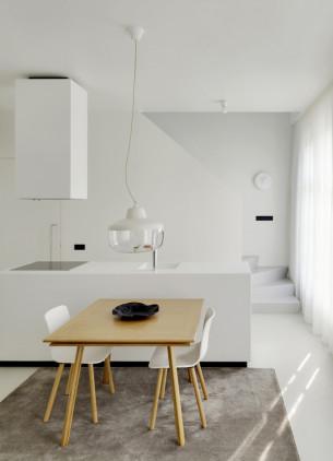 Minimalist White Kitchen and Living