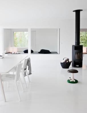 Balck Fireplace with minimalist interior