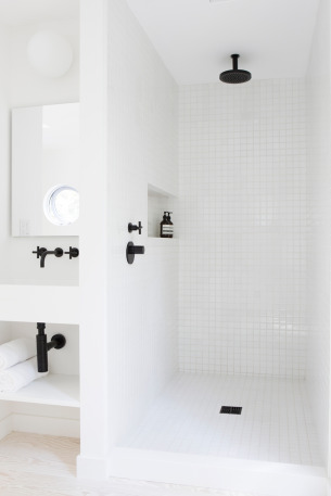 White Bathroom with Black things