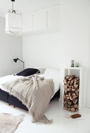 Bedroom with Firewood Shelf