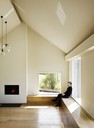Minimalist Living with fireplace
