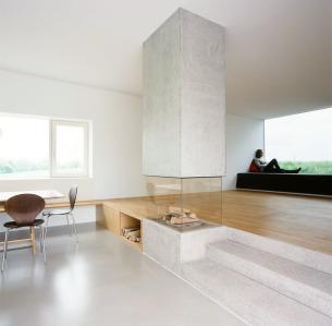 Concrete Glass Fireplace