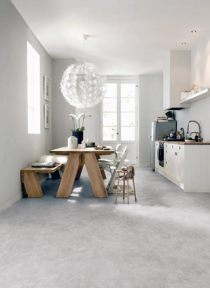 Kitchen and Dining room with modern concrete style floor