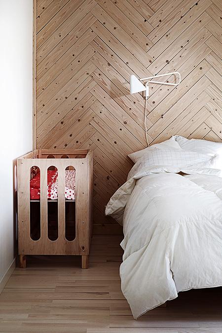 Wood floor and wall bedroom