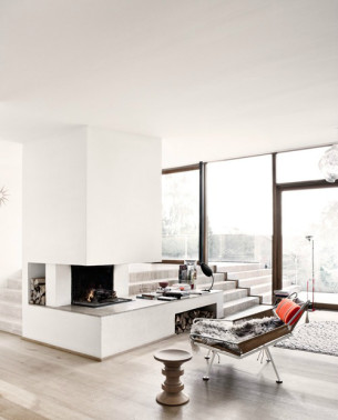 Minimalist White Fireplace with Flag Halyard Chair