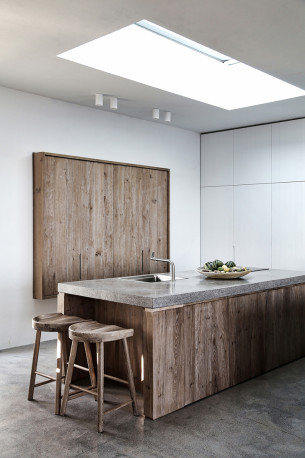 Clean Kitchen with Timber and Skylight