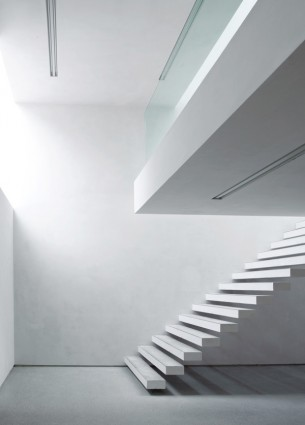White Conrete Floating Staircase