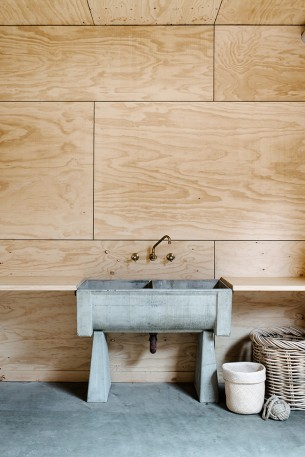 Concrete Washstand with Plywood Walls