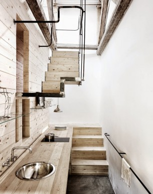 Compact Wooden Kitchen with Floating stairs