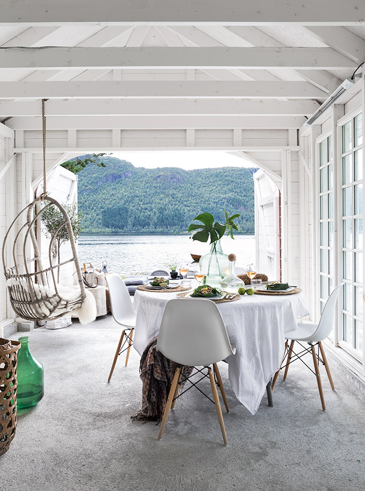 Summer House Boathouse in Norway Geiranger Lakeside