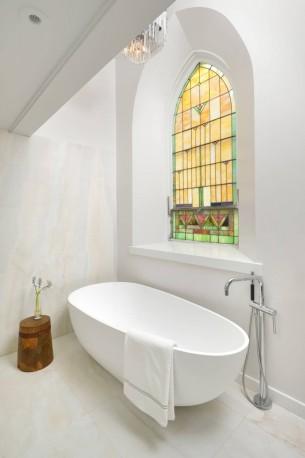 Church Windows in Bathroom