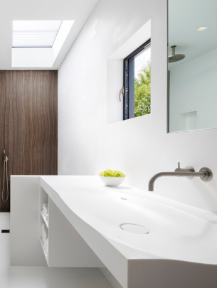 White Bathroom with Wood Shower Wall