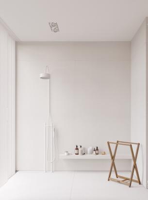 Minimalist and Light grey Bath