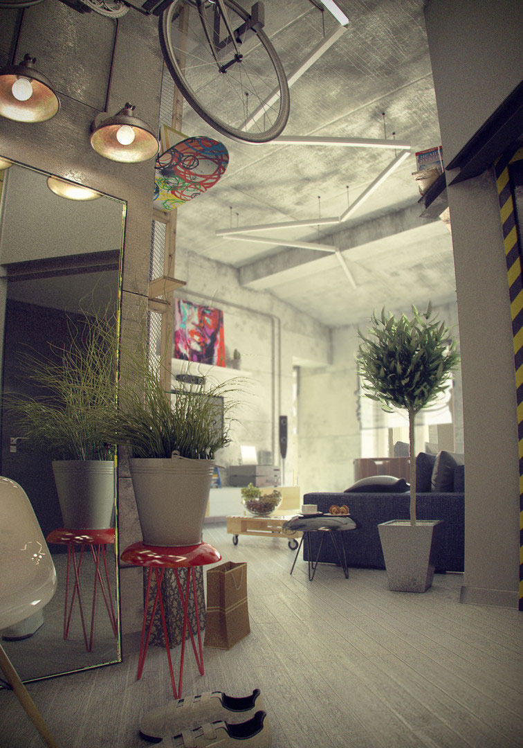 Casual Loft Style Living Interior Design Maxim Zhukov 003