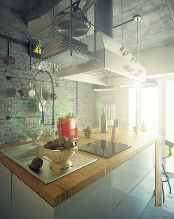 Casual-Loft-Style-Living-interior-design-Maxim-Zhukov-Industrial-style-kitchen