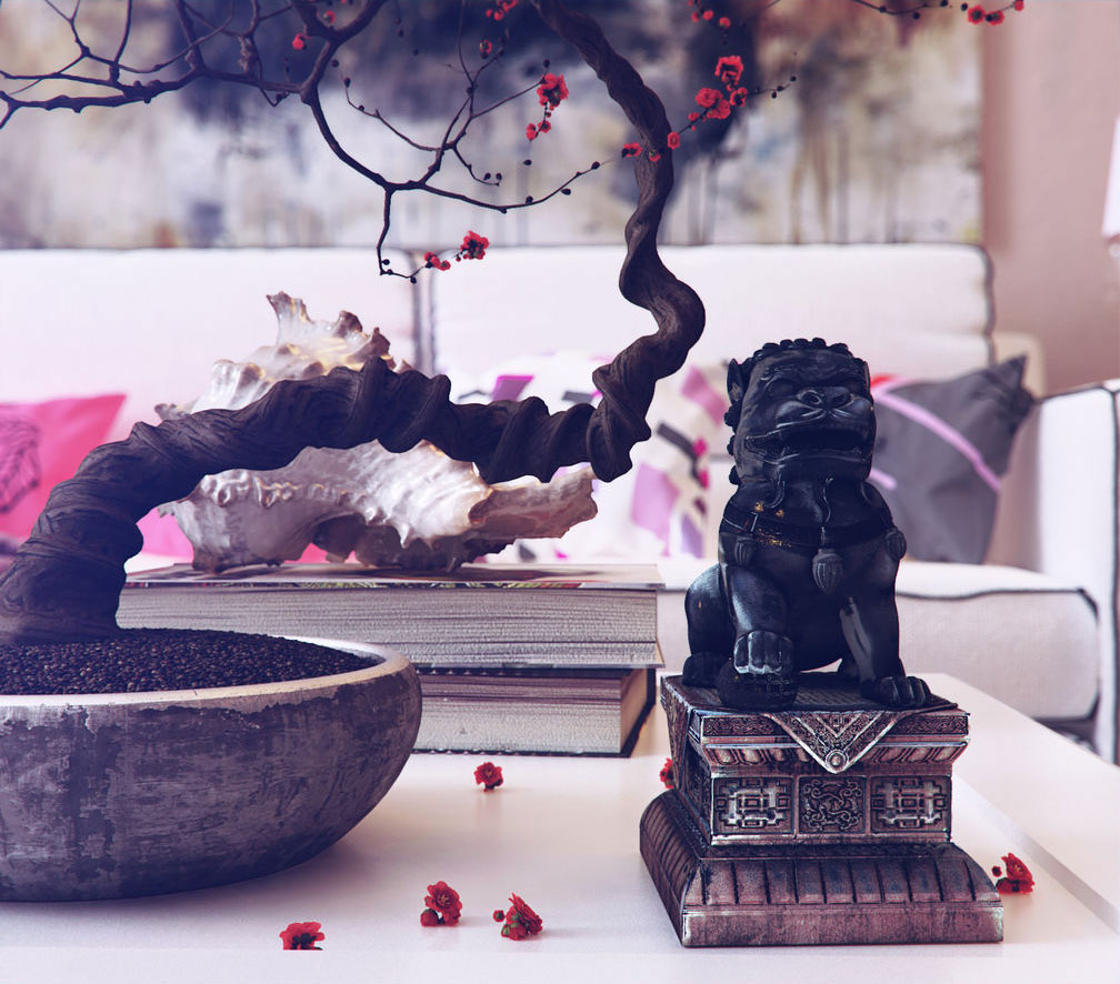 18 Relaxing Japanese Inspired Front Yard Décor Ideas: Chinese Inspired Interiors 3D Artwork By Romi3d