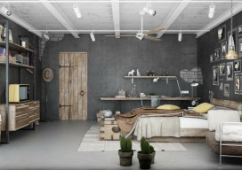 Industrial Bedroom 3D Artwork by Blalank Studio