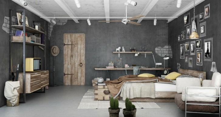 Industrial Bedroom 3D Artwork by Blalank Studio