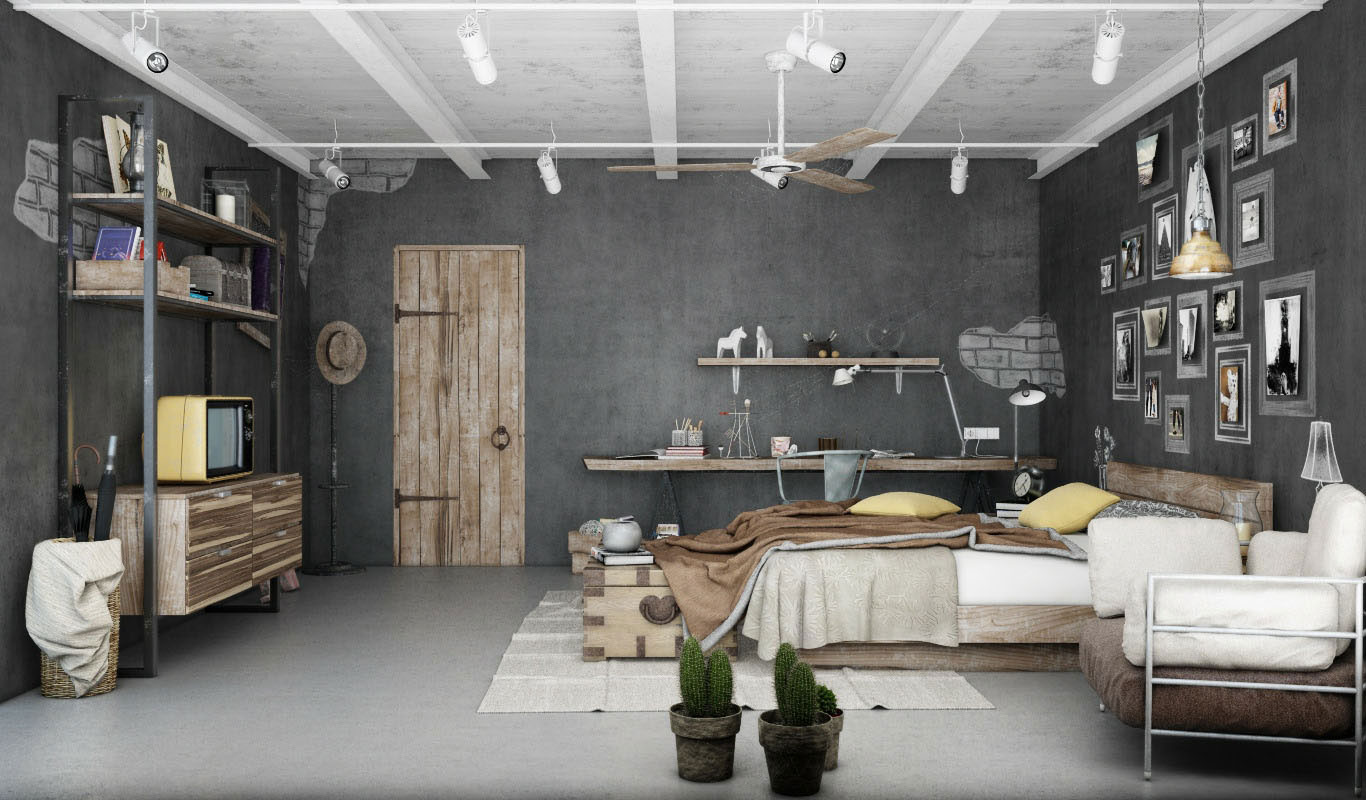 Industrial bedroom 3d artwork by blalank studio ideasgn for Idee deco retro chic